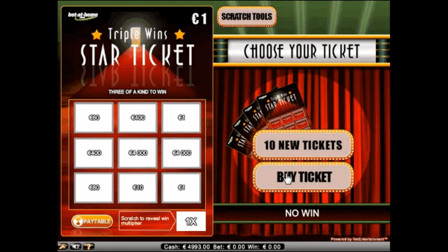 Характеристики слота Triple Wins Star Ticket 6